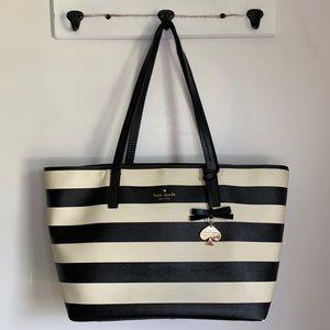 Kate Spade Black/White Striped Tote Bag